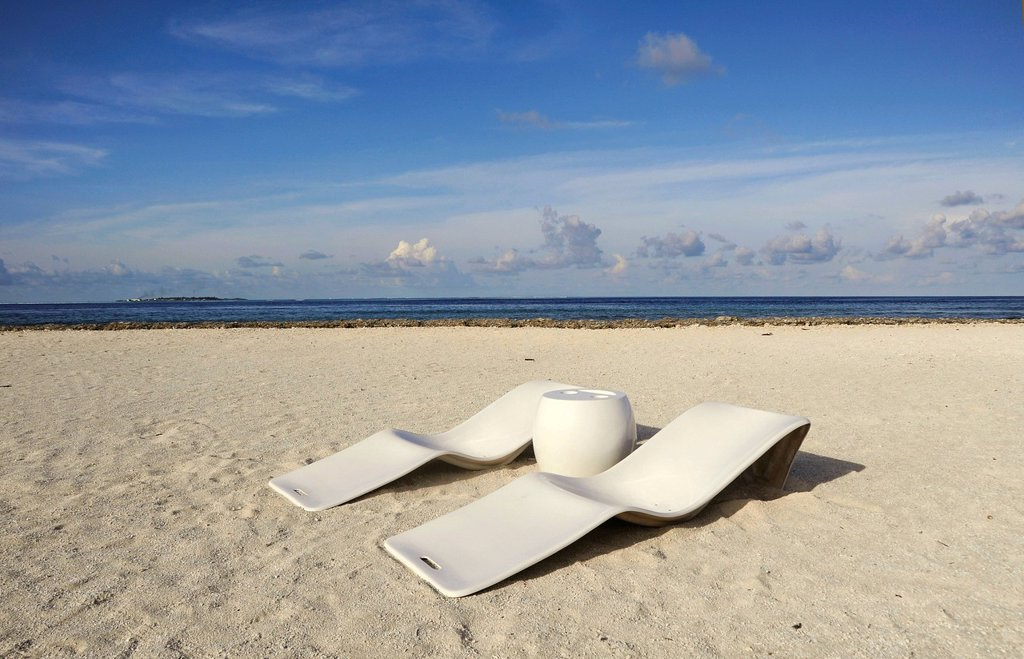 Stock Photo: 1848R-738880 Two sun loungers on an unspoiled tropical beach, Maldives, Indian Ocean