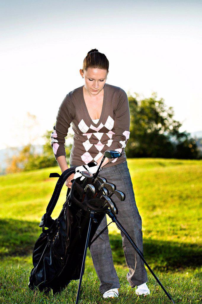 Golfer playing Crossgolf, X_Golf or Urban Golf : Stock Photo