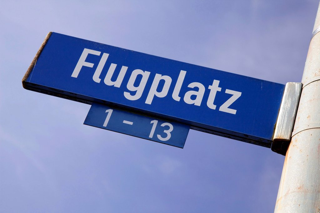 Stock Photo: 1848R-739503 Sign, Flugplatz or airport, Dortmund, Ruhrgebiet region, North Rhine_Westphalia, Germany, Europe, PublicGround