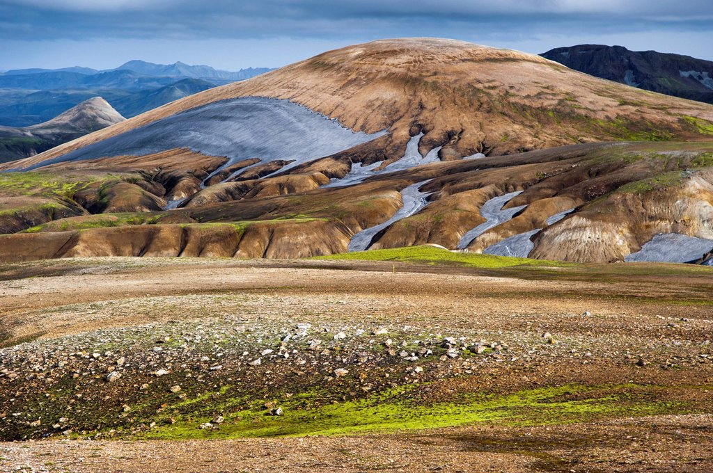 Stock Photo: 1848R-740602 Rhyolite mountains, Landmannalaugar, Fjallabak Nature Reserve, Highlands of Iceland, Iceland, Europe
