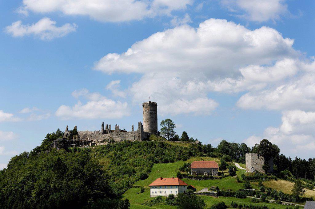 Stock Photo: 1848R-741559 Waxenberg ruins, Muehlviertel region, Upper Austria, Austria, Europe, PublicGround