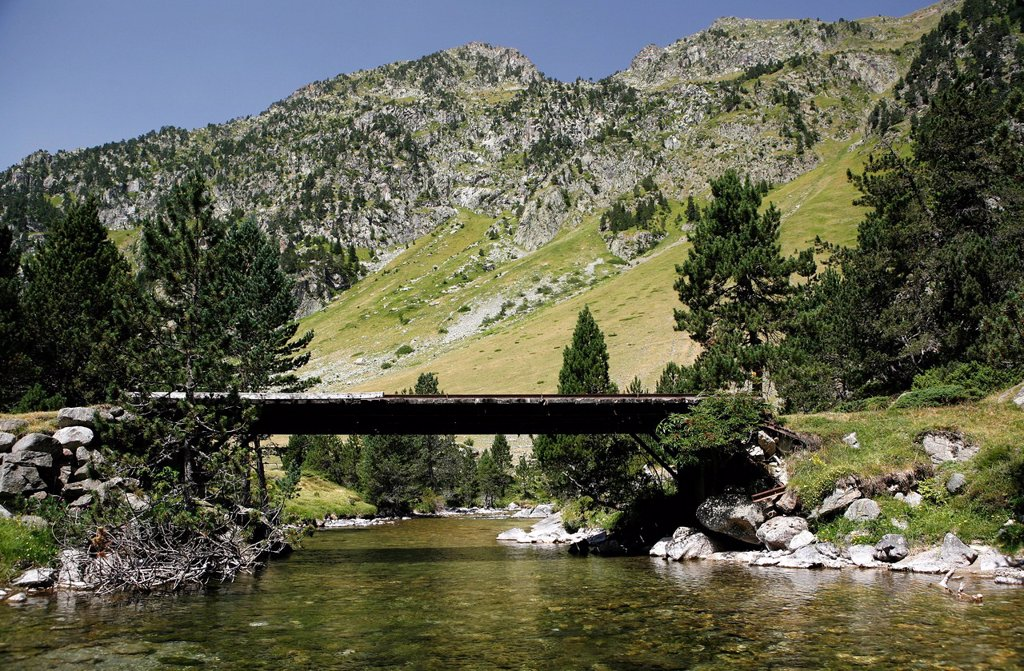 Stock Photo: 1848R-748014 Bridge across a mountain torrent, landscape in the French Pyrenees, national park near Argeles_Gazost, Midi_Pyrenees region, Hautes_Pyrenees departement, France, Europe