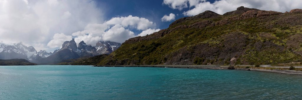 Stock Photo: 1848R-749663 Panoramic view of Lago Nordenskjöld, Lake Nordenskjöld, in front of the mountains Cuernos del Paine in the Torres del Paine National Park, Magallanes Region, Patagonia, Chile, South America, Latin America, America