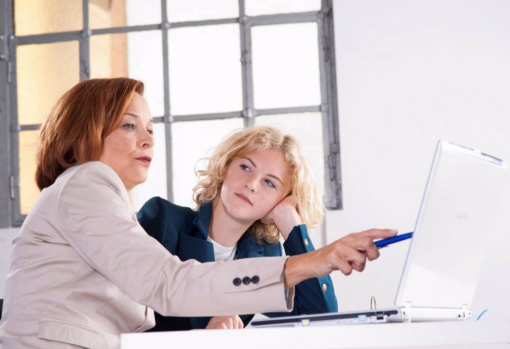 Manager working in an office with a trainee at the computer : Stock Photo