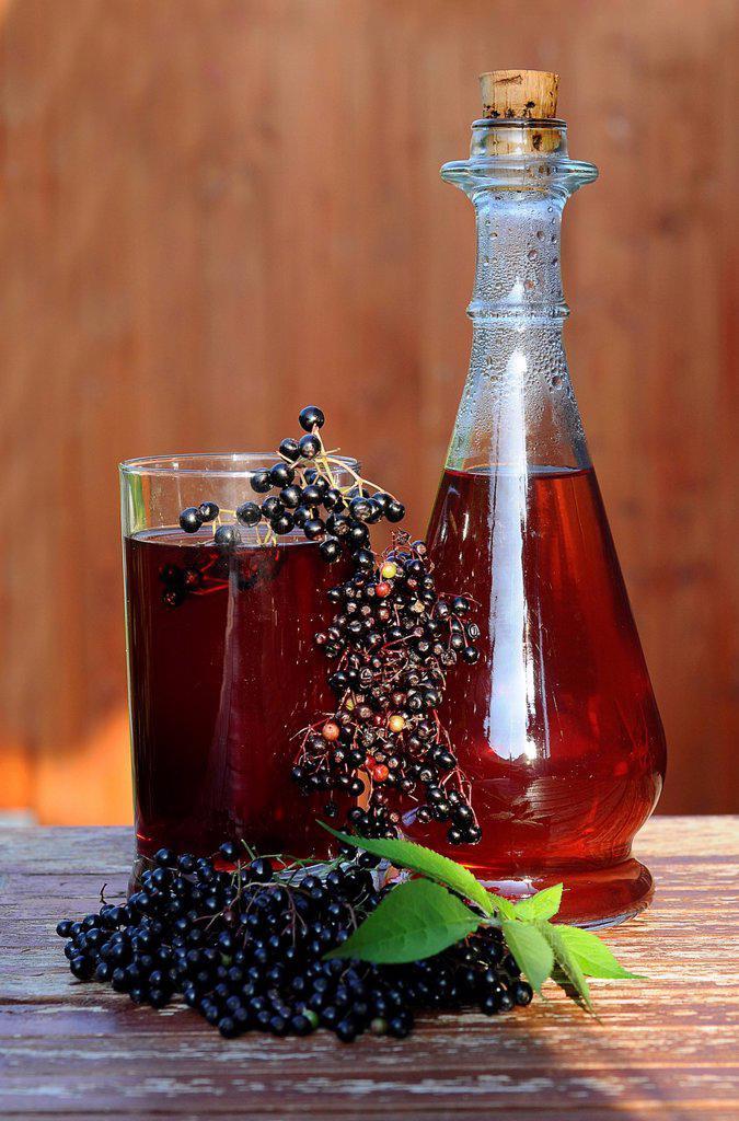 Elderberry juice, elderberries Sambucus nigra : Stock Photo