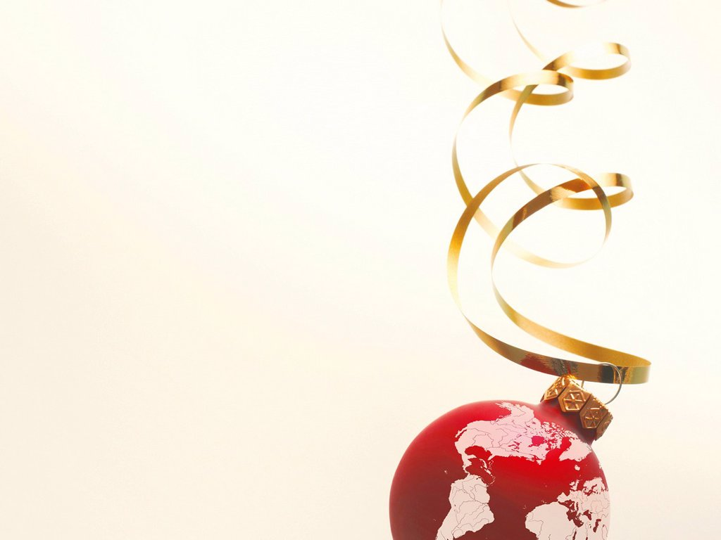 Stock Photo: 1848R-760067 Christmas ball as a globe with North America, South America, parts of Africa and Europe
