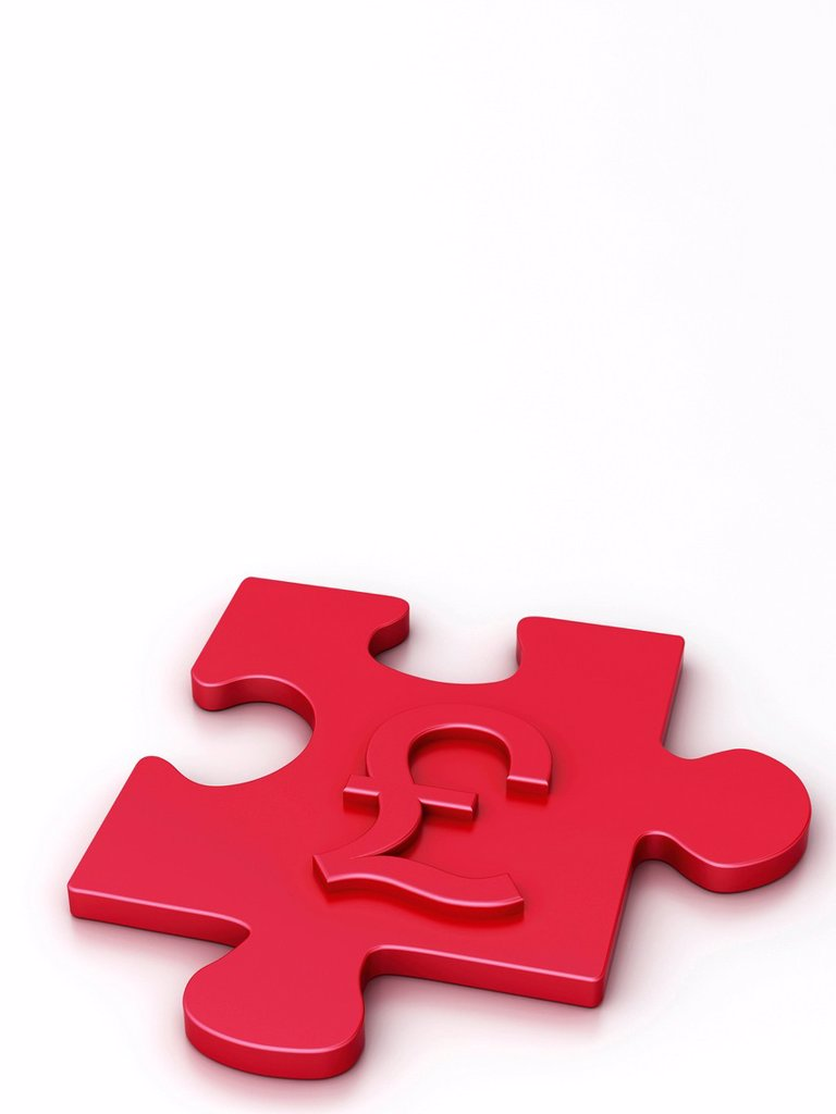 Stock Photo: 1848R-772364 Puzzle piece with a pound symbol