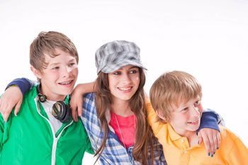 Three Friends, One Girl And Two Boys, Arm In Arm, Smiling