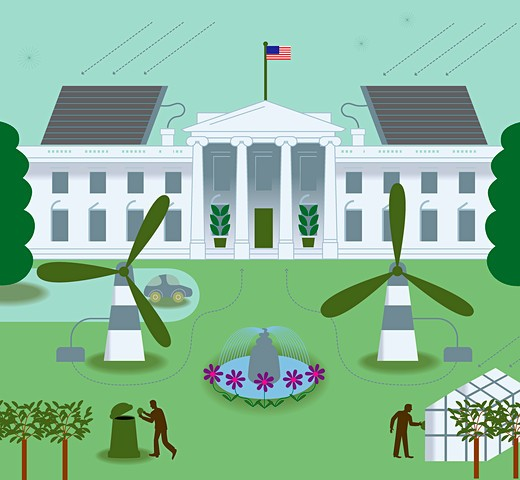 White House with wind turbines : Stock Photo