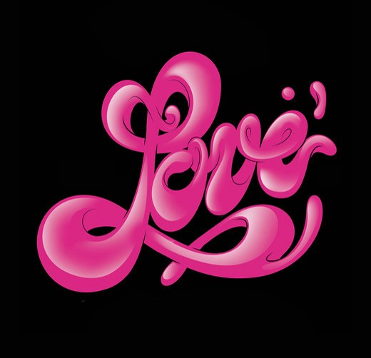 Stylized cursive word 'love' : Stock Photo