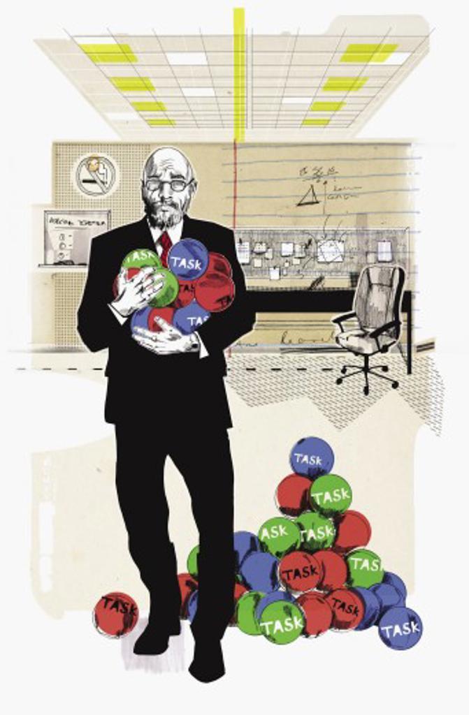 Businessman holding armful of task balls : Stock Photo