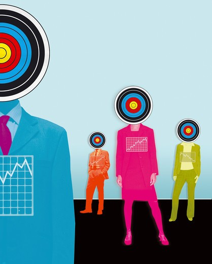 Stock Photo: 1849-1076 Business people with targets for heads and charts on chest