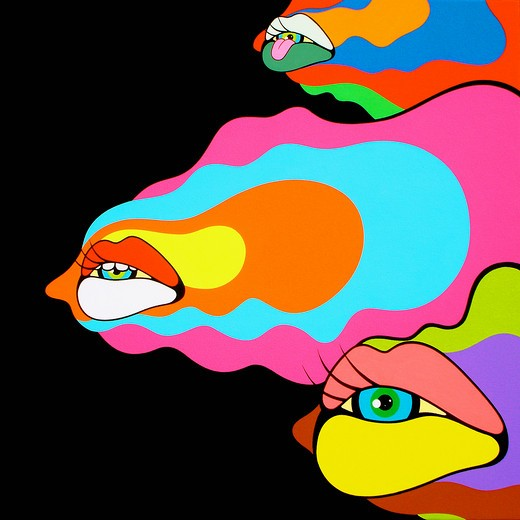 Psychedelic mouths and eyes : Stock Photo