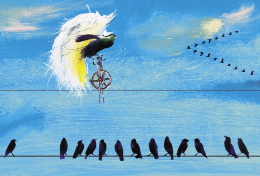 Birds on telephone wire watching exotic bird rice unicycle : Stock Photo