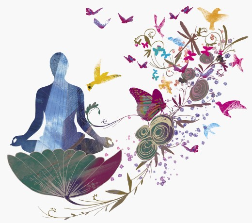 Stock Photo: 1849-1262 Woman sitting in flower meditating