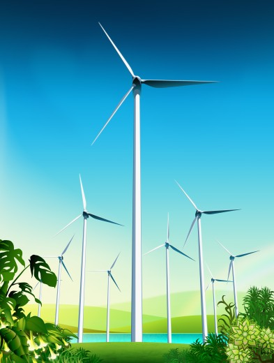 Wind turbines near lake in countryside : Stock Photo