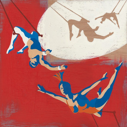 Trapeze artists swinging on trapeze : Stock Photo
