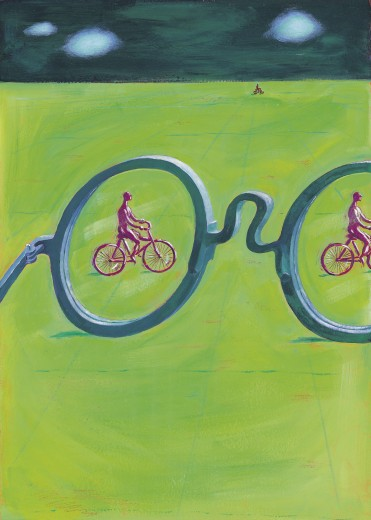 Large glasses and men riding bicycles : Stock Photo