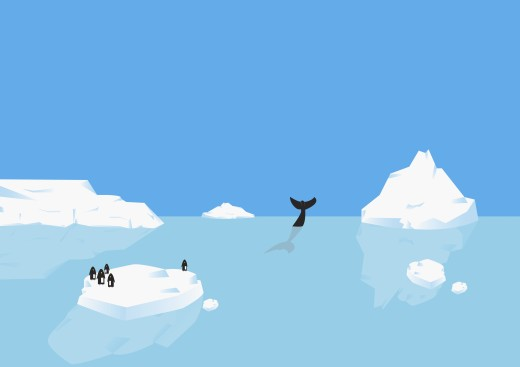 Penguins standing on iceberg, whale diving in distance : Stock Photo