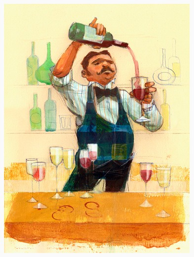 Waiter pouring red wine : Stock Photo