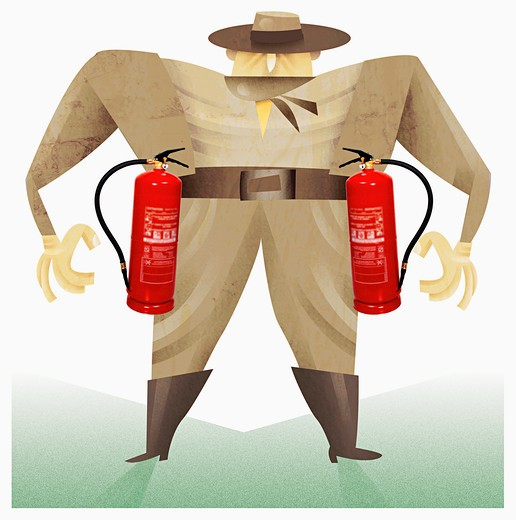 Man with fire extinguishers : Stock Photo