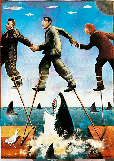 Businessmen on stilts walking through shark-infested waters : Stock Photo