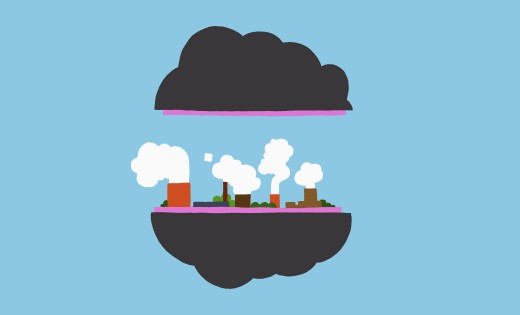 Factory floating on cloud : Stock Photo