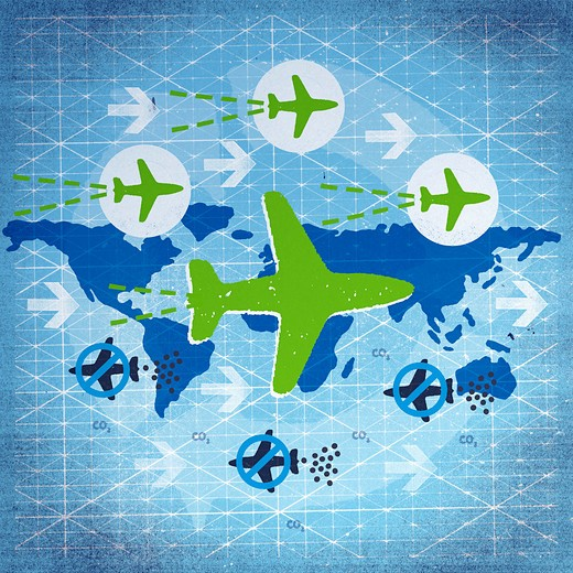 Airplanes flying over globe : Stock Photo