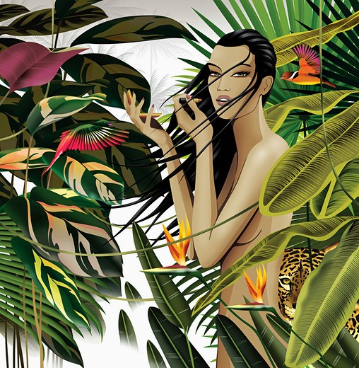 Nude woman in tropical setting : Stock Photo