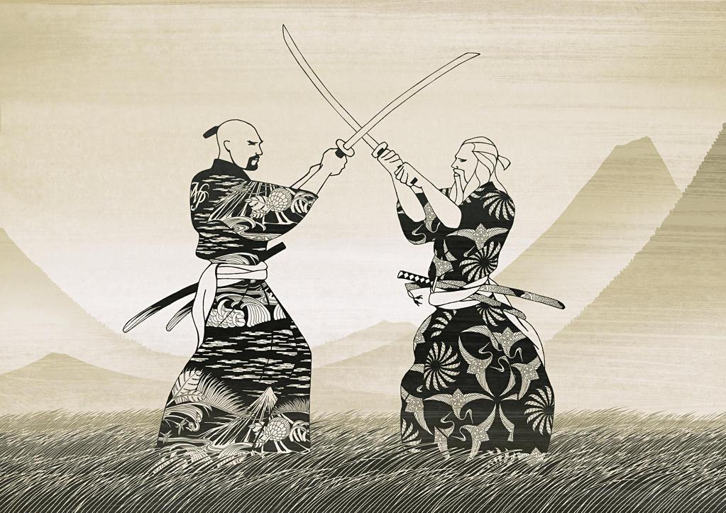 Asian men sword fighting : Stock Photo