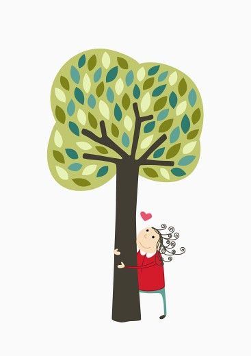 Girl hugging tree : Stock Photo