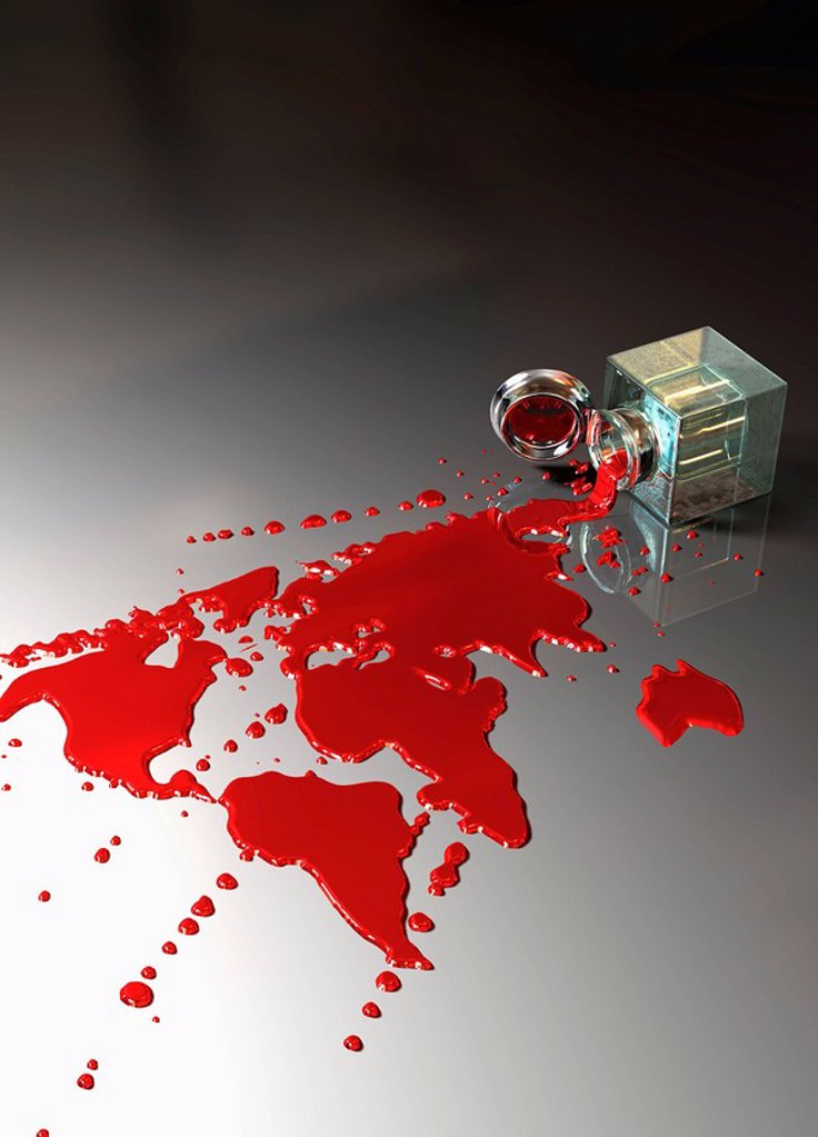 Stock Photo: 1849-1806 Red ink spilling and forming continents