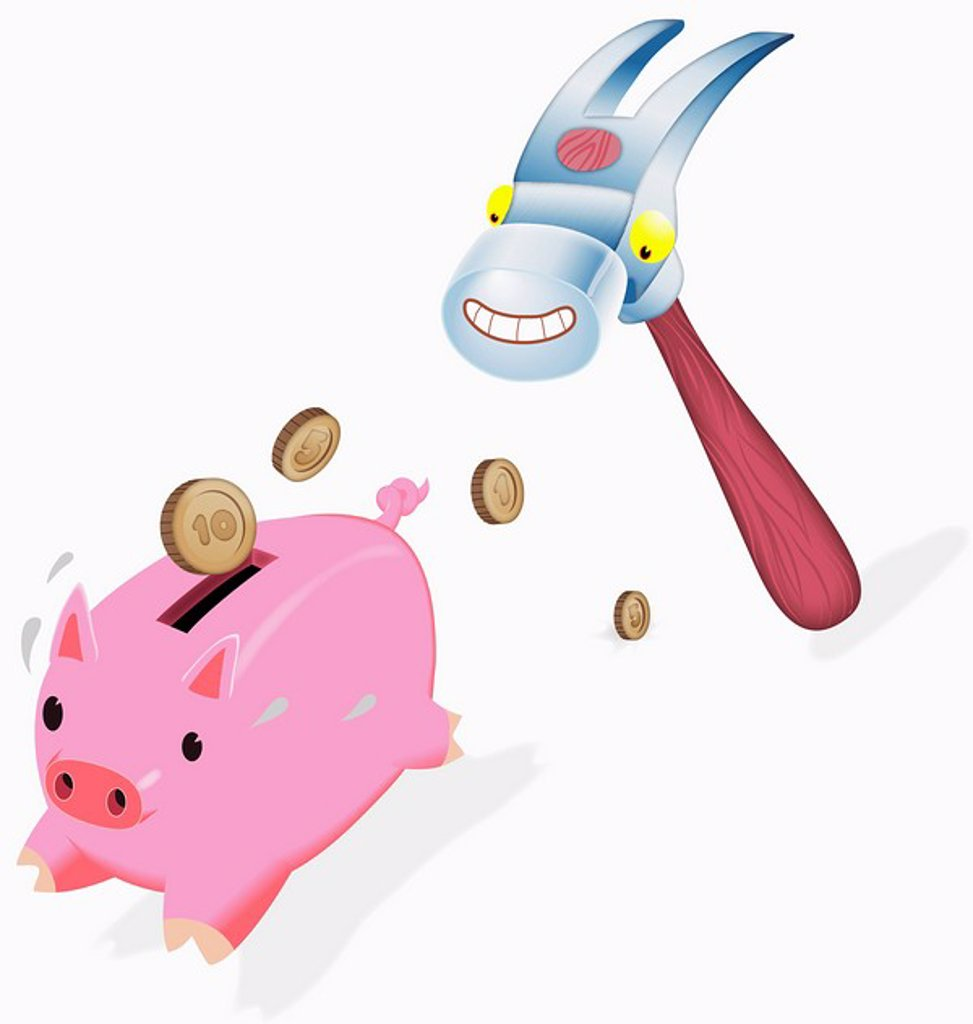 Anthropomorphic hammer chasing piggy bank : Stock Photo