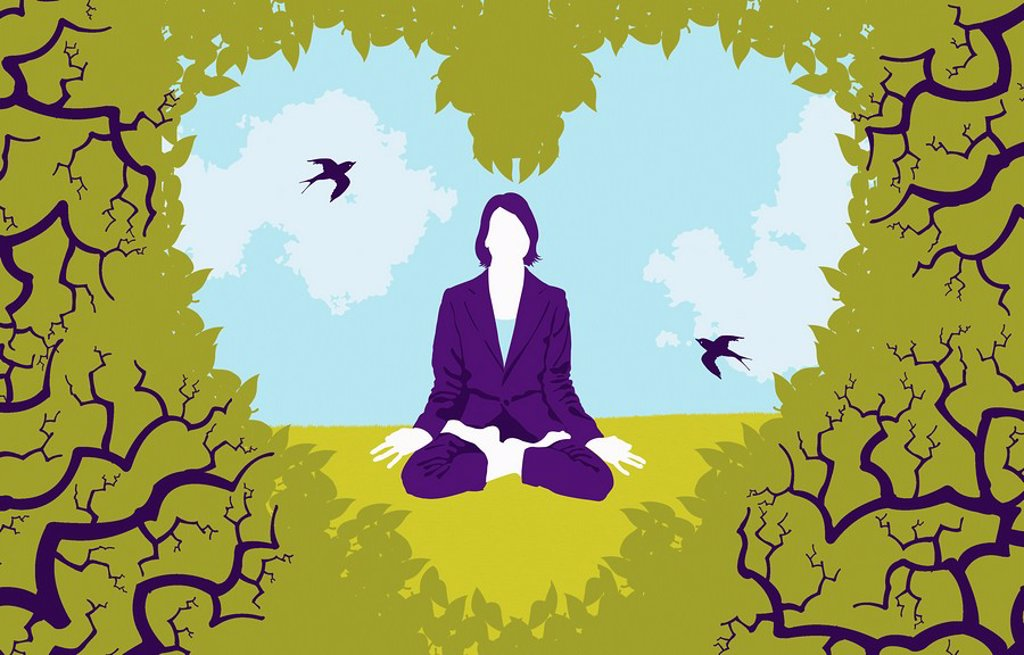 Stock Photo: 1849-2050 View of woman sitting in lotus position in heart_shape opening