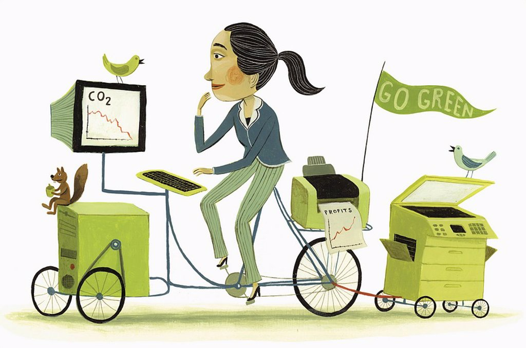 Businesswoman driving eco_friendly office bicycle : Stock Photo