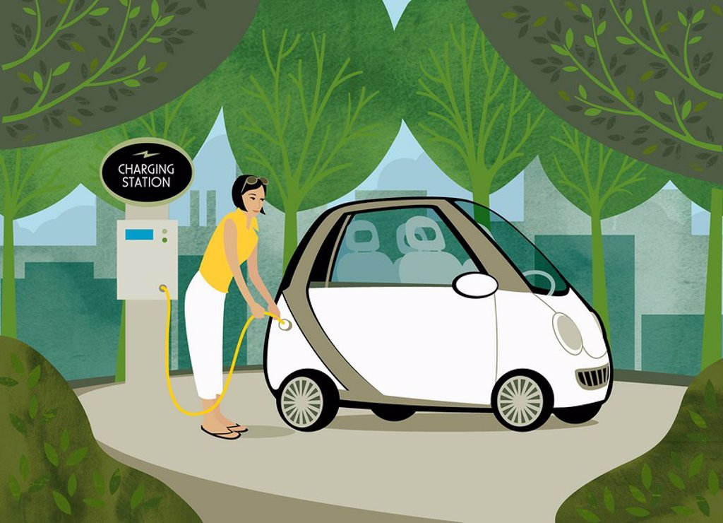 Woman recharging her electric car among trees : Stock Photo