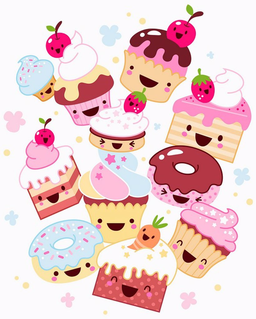 Anthropomorphic cakes, cupcakes and donuts : Stock Photo