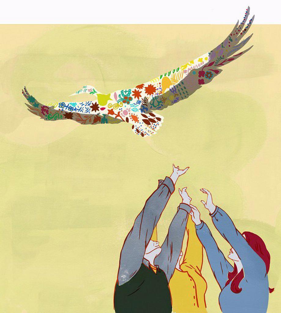 Stock Photo: 1849-2324 Hands reaching for bird overhead