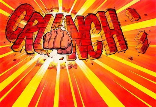 "Stock Photo: 1849-2403 Fist breaking text ""crunch"""