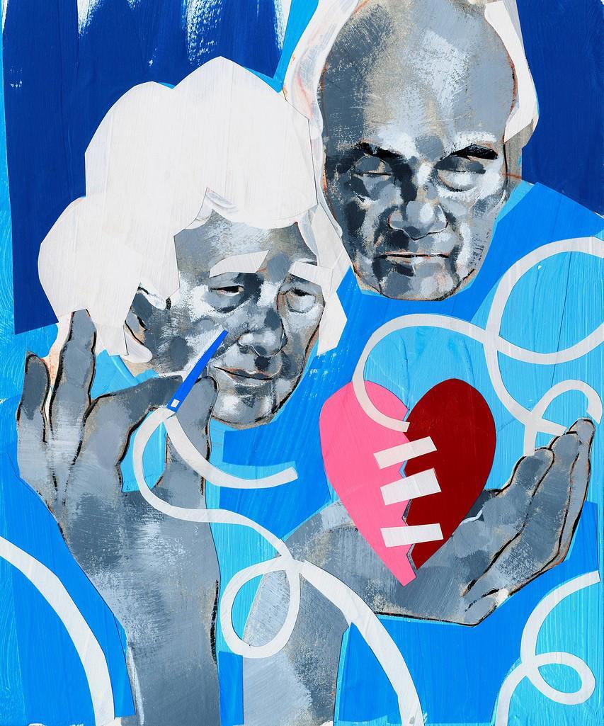 Senior couple sewing broken heart : Stock Photo