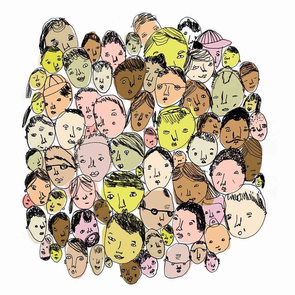 Stock Photo: 1849-2609 Crowd of diverse people