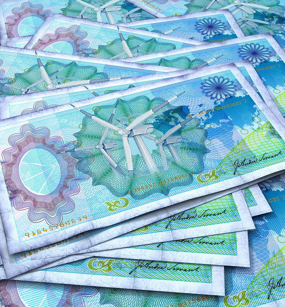 Stock Photo: 1849-2619 Close up of blue bank notes with wind turbines in center