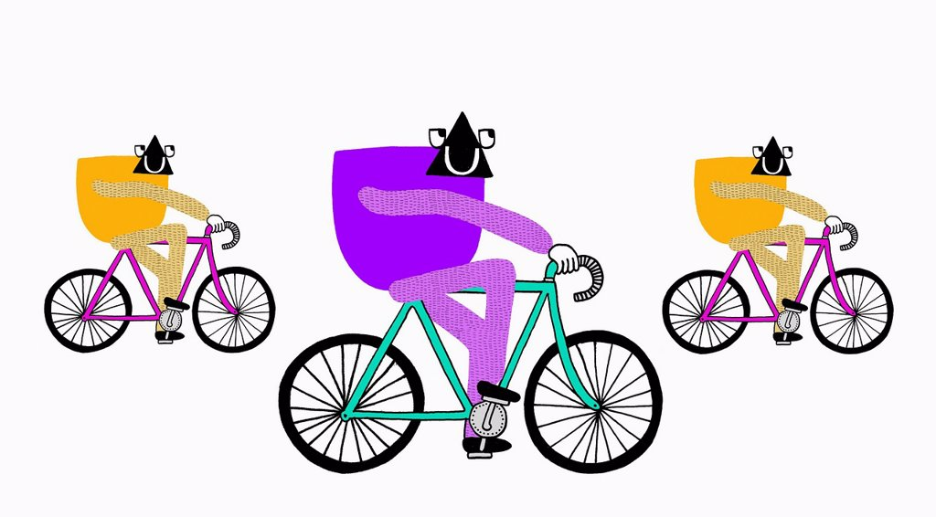 Creatures riding on bicycles : Stock Photo