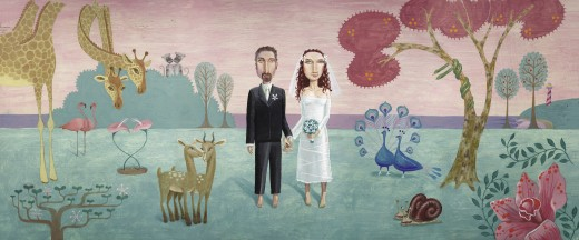 Bride and groom in forest with animal pairs : Stock Photo