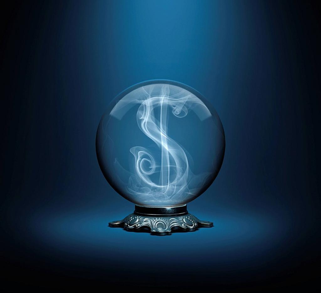 Dollar sign inside crystal ball : Stock Photo