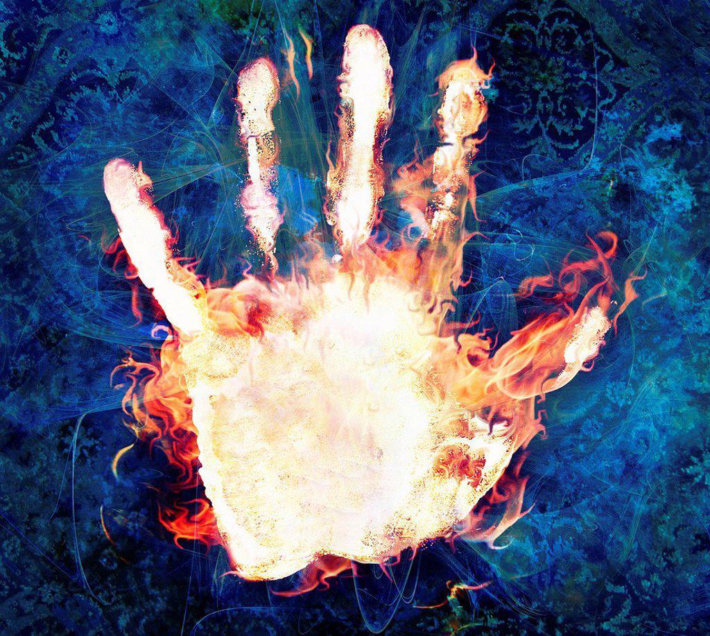 Stock Photo: 1849-3012 Flames burning on human hand