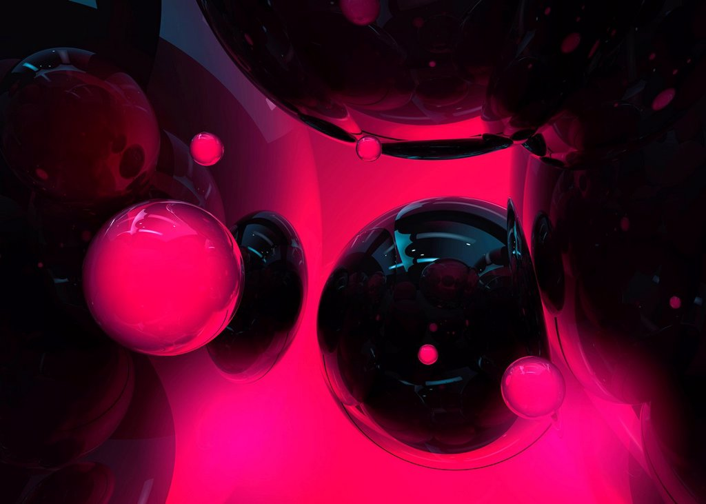Stock Photo: 1849-3040 Abstract glowing black and pink spheres