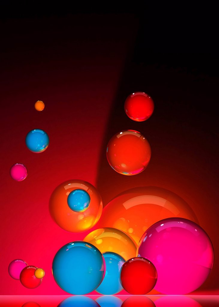 Abstract floating colorful spheres  : Stock Photo
