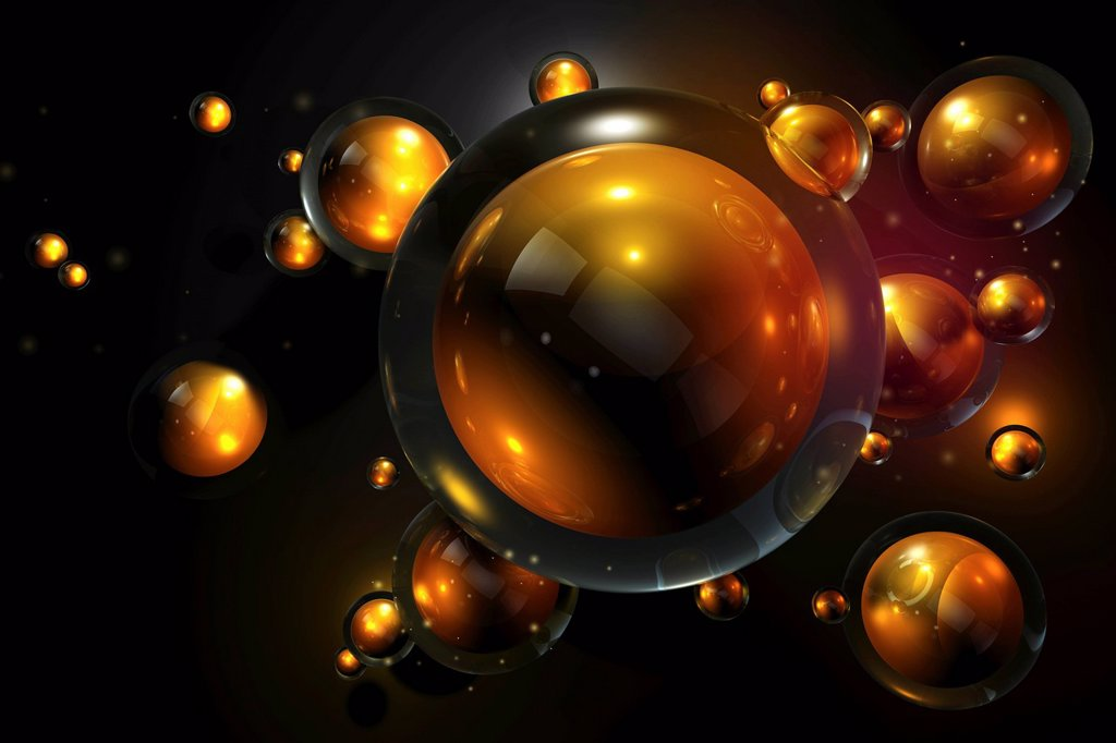 Abstract floating gold spheres  : Stock Photo
