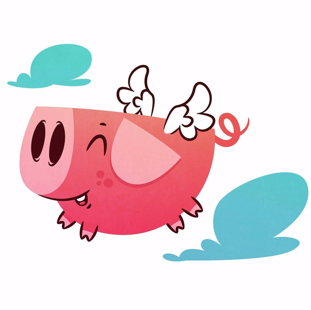 Smiling pig flying : Stock Photo